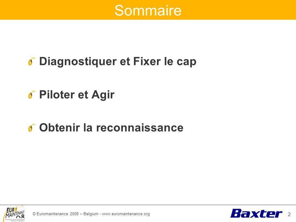 © Euromaintenance 2008 – Belgium - www.euromaintenance.org Sommaire Diagnostiquer et Fixer le cap Piloter et Agir Obtenir la reconnaissance 2