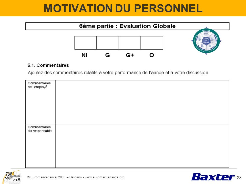 © Euromaintenance 2008 – Belgium - www.euromaintenance.org 23 MOTIVATION DU PERSONNEL 23