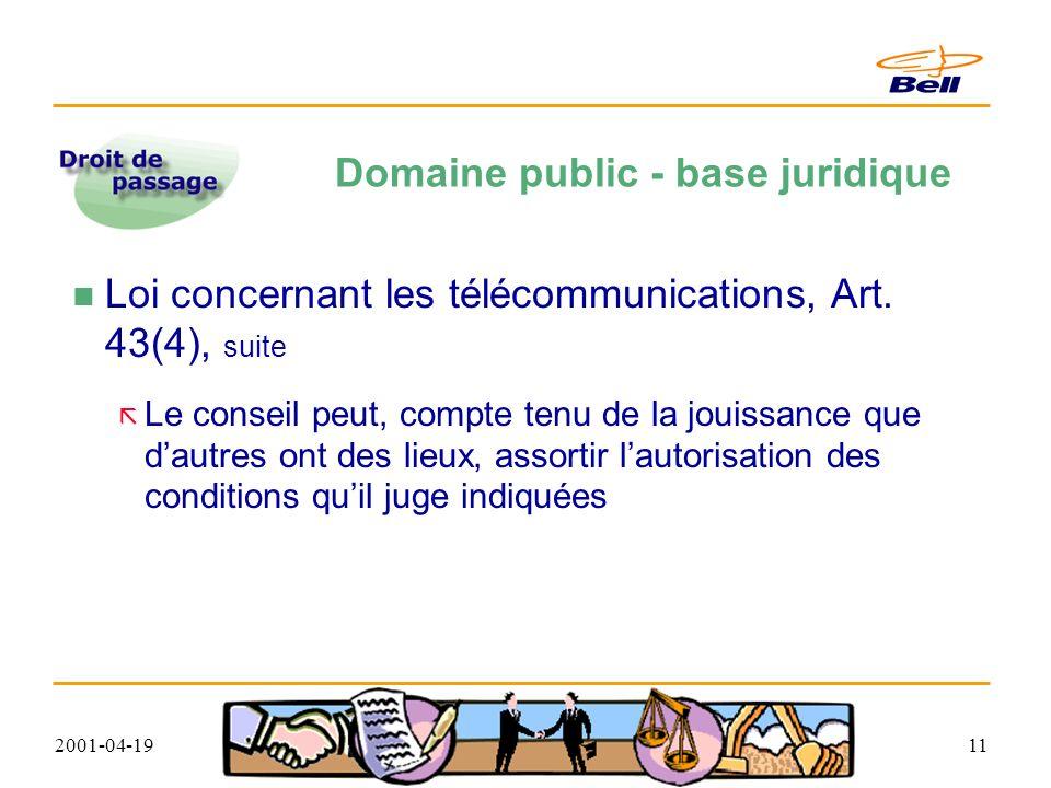 2001-04-1911 Domaine public - base juridique Loi concernant les télécommunications, Art.