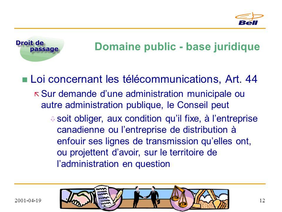 2001-04-1912 Domaine public - base juridique Loi concernant les télécommunications, Art.
