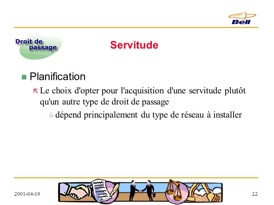 2001-04-1922 Servitude Planification ã Le choix d opter pour l acquisition d une servitude plutôt qu un autre type de droit de passage ò dépend principalement du type de réseau à installer