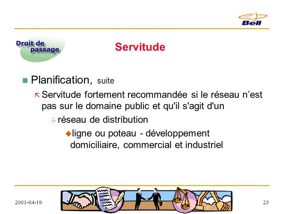 2001-04-1923 Servitude Planification, suite Servitude fortement recommandée si le réseau nest pas sur le domaine public et qu il s agit d un réseau de distribution ligne ou poteau - développement domiciliaire, commercial et industriel
