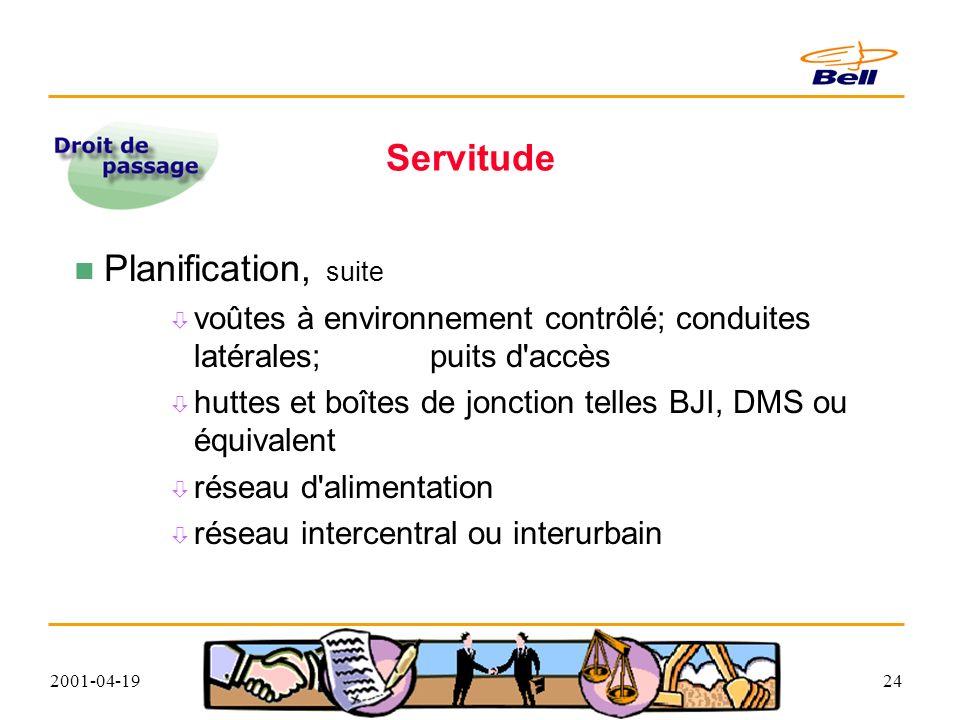 2001-04-1924 Servitude Planification, suite voûtes à environnement contrôlé; conduites latérales; puits d accès huttes et boîtes de jonction telles BJI, DMS ou équivalent réseau d alimentation réseau intercentral ou interurbain