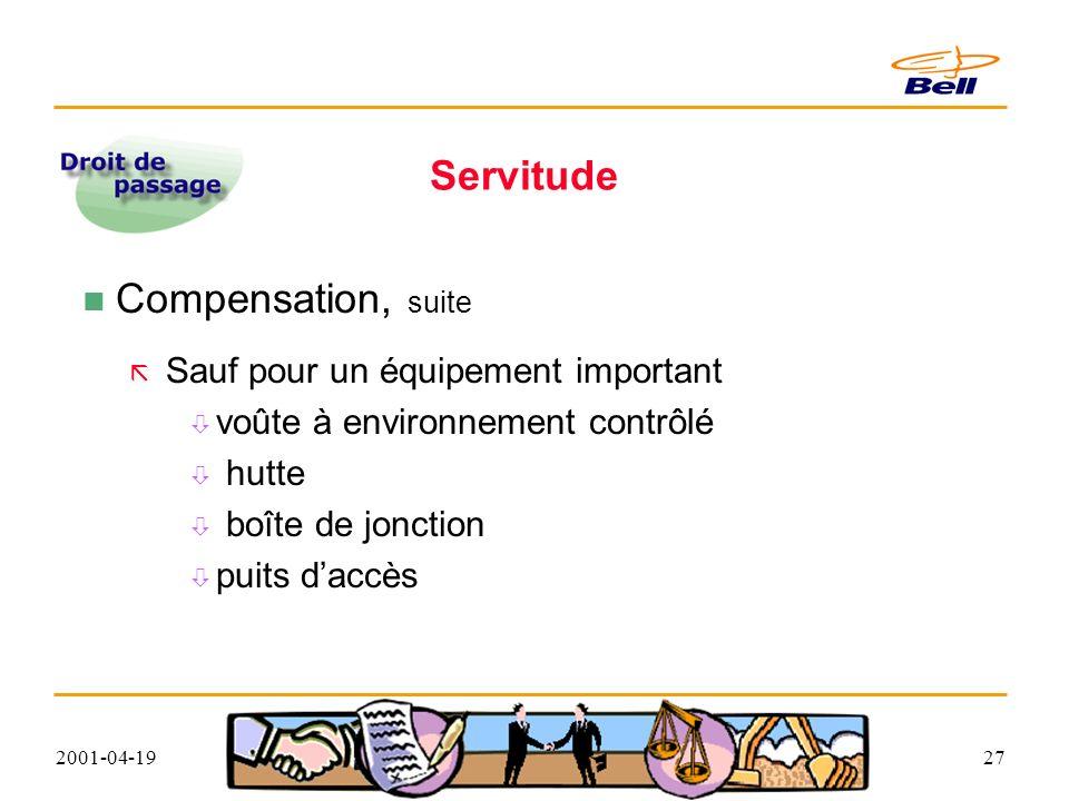 2001-04-1927 Servitude Compensation, suite Sauf pour un équipement important voûte à environnement contrôlé hutte boîte de jonction puits daccès
