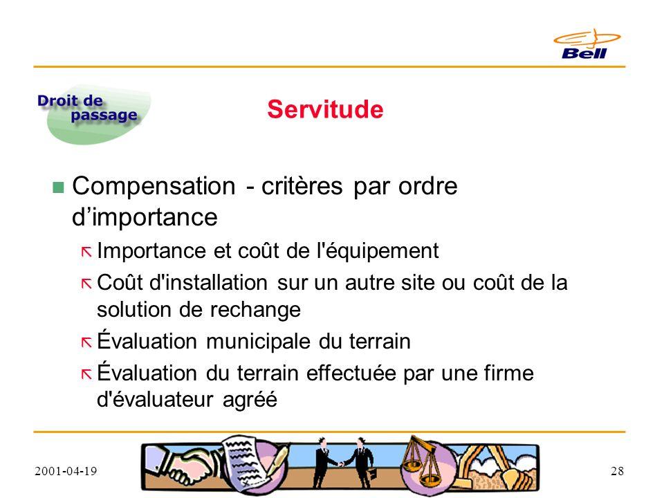 2001-04-1928 Servitude Compensation - critères par ordre dimportance Importance et coût de l équipement Coût d installation sur un autre site ou coût de la solution de rechange Évaluation municipale du terrain Évaluation du terrain effectuée par une firme d évaluateur agréé