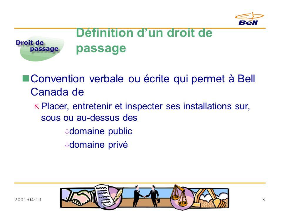 2001-04-193 Définition dun droit de passage Convention verbale ou écrite qui permet à Bell Canada de Placer, entretenir et inspecter ses installations sur, sous ou au-dessus des domaine public domaine privé