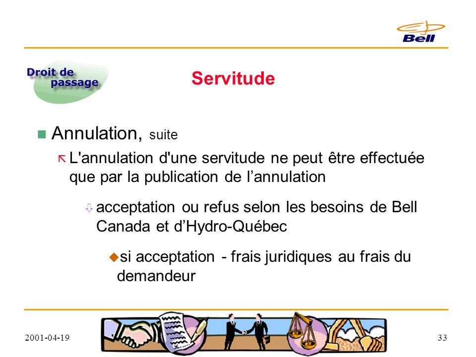2001-04-1933 Servitude Annulation, suite L annulation d une servitude ne peut être effectuée que par la publication de lannulation acceptation ou refus selon les besoins de Bell Canada et dHydro-Québec si acceptation - frais juridiques au frais du demandeur