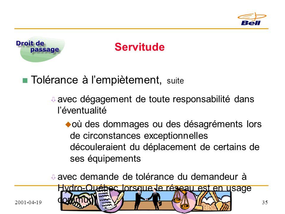 2001-04-1935 Servitude Tolérance à lempiètement, suite avec dégagement de toute responsabilité dans léventualité où des dommages ou des désagréments lors de circonstances exceptionnelles découleraient du déplacement de certains de ses équipements avec demande de tolérance du demandeur à Hydro-Québec lorsque le réseau est en usage commun