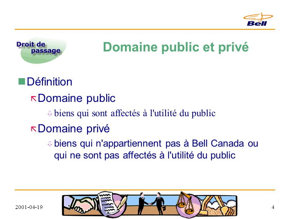 2001-04-194 Domaine public et privé Définition Domaine public biens qui sont affectés à l utilité du public Domaine privé biens qui n appartiennent pas à Bell Canada ou qui ne sont pas affectés à l utilité du public