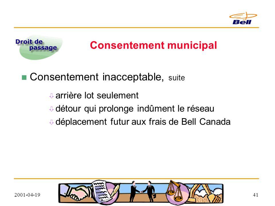 2001-04-1941 Consentement municipal Consentement inacceptable, suite arrière lot seulement détour qui prolonge indûment le réseau déplacement futur aux frais de Bell Canada
