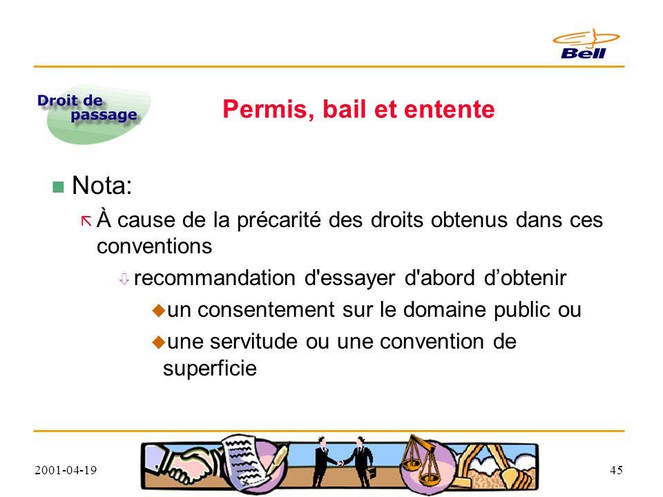 2001-04-1945 Permis, bail et entente Nota: À cause de la précarité des droits obtenus dans ces conventions recommandation d essayer d abord dobtenir un consentement sur le domaine public ou une servitude ou une convention de superficie