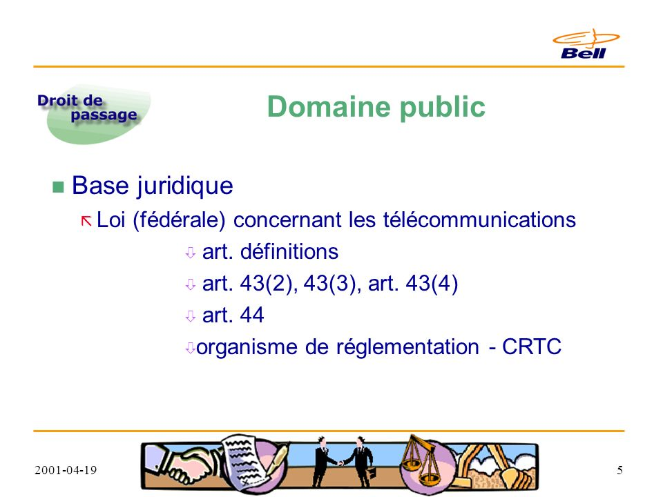 2001-04-196 Domaine public - base juridique Loi concernant les télécommunications PARTIE I - DISPOSITIONS GÉNÉRALES définitions « administration publique » s entend notamment de Sa Majesté du chef du Canada ou d une province