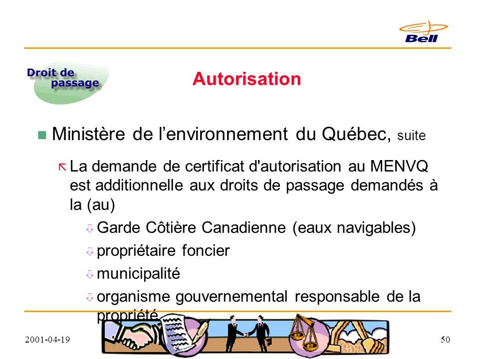 2001-04-1950 Autorisation Ministère de lenvironnement du Québec, suite La demande de certificat d autorisation au MENVQ est additionnelle aux droits de passage demandés à la (au) Garde Côtière Canadienne (eaux navigables) propriétaire foncier municipalité organisme gouvernemental responsable de la propriété