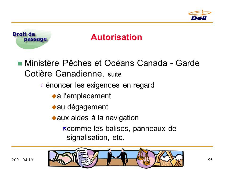 2001-04-1955 Autorisation Ministère Pêches et Océans Canada - Garde Cotière Canadienne, suite énoncer les exigences en regard à lemplacement au dégagement aux aides à la navigation comme les balises, panneaux de signalisation, etc.