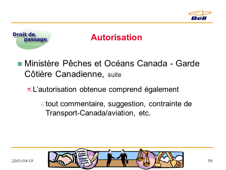 2001-04-1956 Autorisation Ministère Pêches et Océans Canada - Garde Côtière Canadienne, suite Lautorisation obtenue comprend également tout commentaire, suggestion, contrainte de Transport-Canada/aviation, etc.
