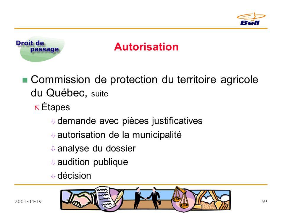 2001-04-1959 Autorisation Commission de protection du territoire agricole du Québec, suite Étapes demande avec pièces justificatives autorisation de la municipalité analyse du dossier audition publique décision