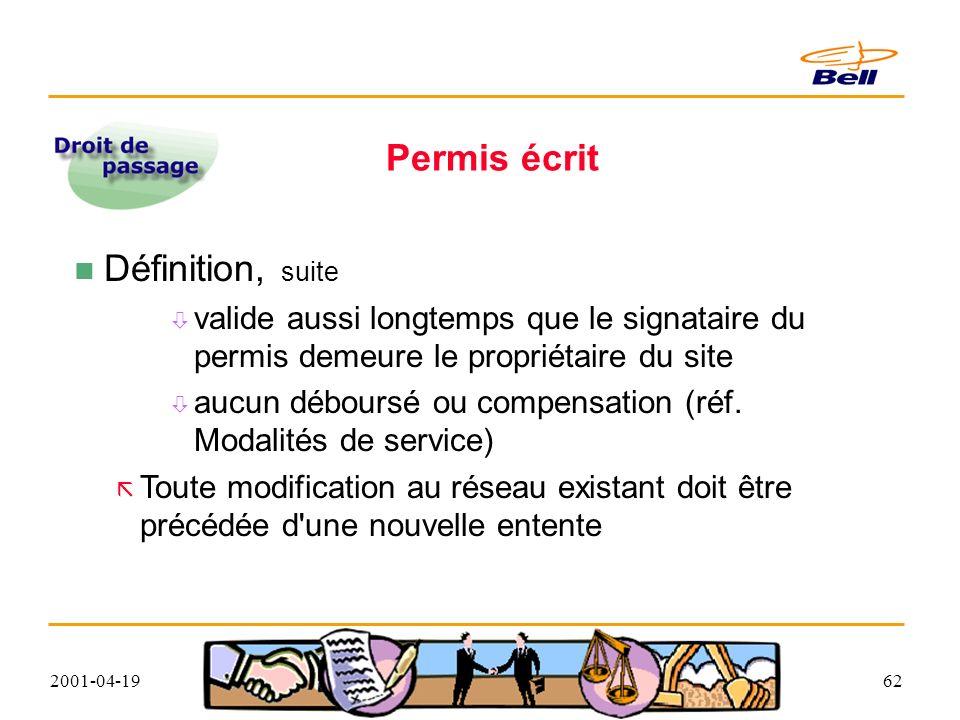 2001-04-1962 Permis écrit Définition, suite valide aussi longtemps que le signataire du permis demeure le propriétaire du site aucun déboursé ou compensation (réf.