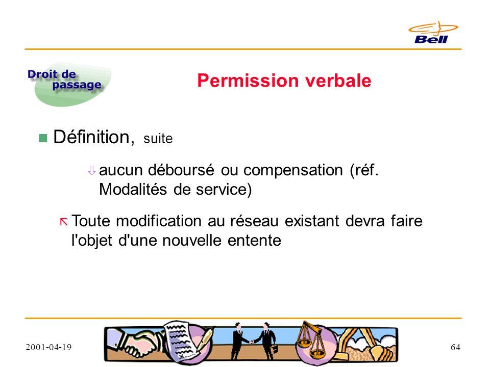 2001-04-1964 Permission verbale Définition, suite aucun déboursé ou compensation (réf.