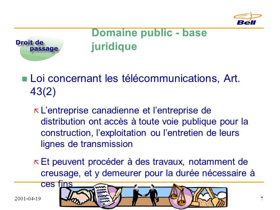 2001-04-1948 Autorisation Ministère de lenvironnement du Québec Lorsque Bell Canada veut installer ses équipements ou effectuer des travaux dans les milieux humides cours d eau régulier ou intermittent, lacs, étangs, marais, marécages, tourbières