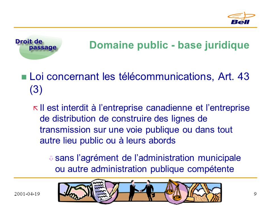 2001-04-1910 Domaine public - base juridique Loi concernant les télécommunications, Art.