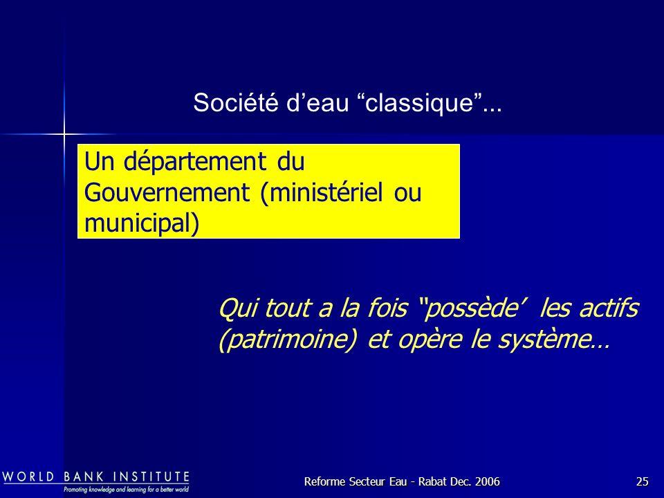Reforme Secteur Eau - Rabat Dec.200625 Société deau classique...