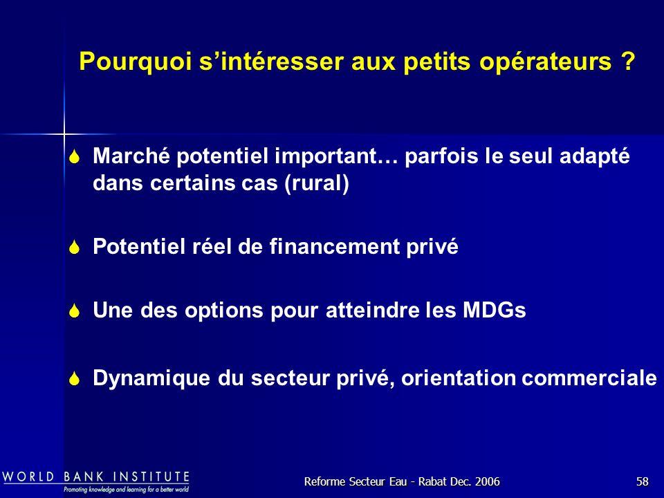 Reforme Secteur Eau - Rabat Dec.200658 Pourquoi sintéresser aux petits opérateurs .