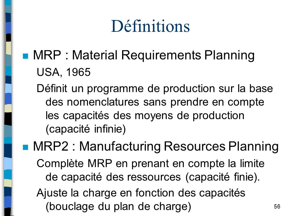 56 Définitions n MRP : Material Requirements Planning USA, 1965 Définit un programme de production sur la base des nomenclatures sans prendre en compt