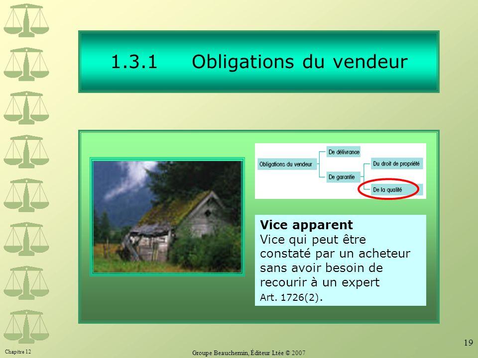 Chapitre 12 Groupe Beauchemin, Éditeur Ltée © 2007 19 1.3.1 Obligations du vendeur Vice apparent Vice qui peut être constaté par un acheteur sans avoir besoin de recourir à un expert Art.