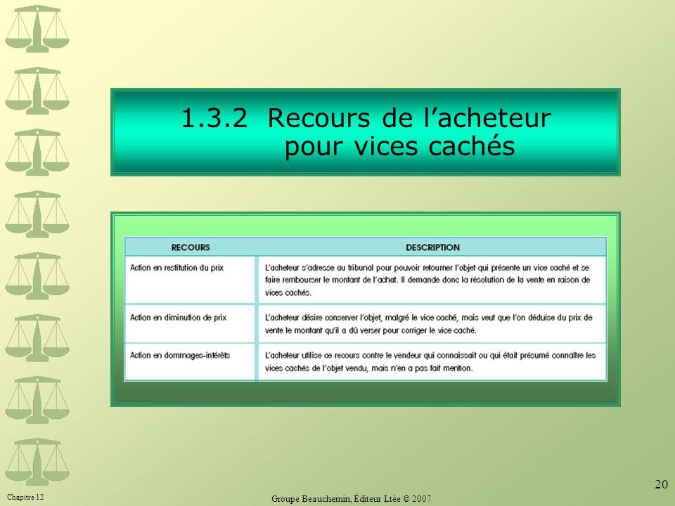 Chapitre 12 Groupe Beauchemin, Éditeur Ltée © 2007 20 1.3.2 Recours de lacheteur pour vices cachés