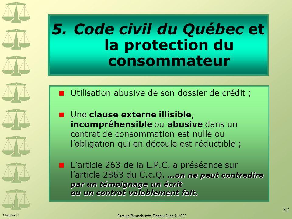 Chapitre 12 Groupe Beauchemin, Éditeur Ltée © 2007 32 5.Code civil du Québec et la protection du consommateur Utilisation abusive de son dossier de cr