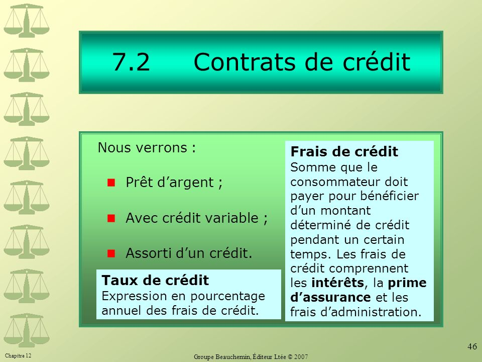 Chapitre 12 Groupe Beauchemin, Éditeur Ltée © 2007 46 7.2 Contrats de crédit Prêt dargent ; Avec crédit variable ; Assorti dun crédit. Frais de crédit