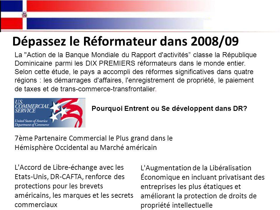 Dépassez le Réformateur dans 2008/09 La Action de la Banque Mondiale du Rapport d activités classe la République Dominicaine parmi les DIX PREMIERS réformateurs dans le monde entier.