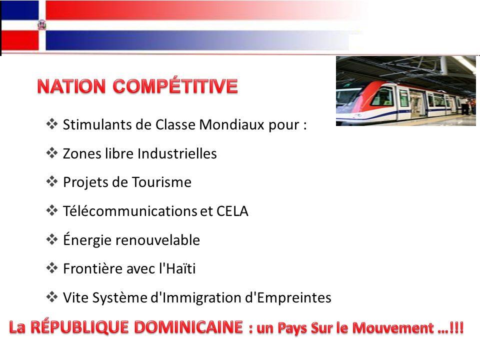 Stimulants de Classe Mondiaux pour : Zones libre Industrielles Projets de Tourisme Télécommunications et CELA Énergie renouvelable Frontière avec l Haïti Vite Système d Immigration d Empreintes