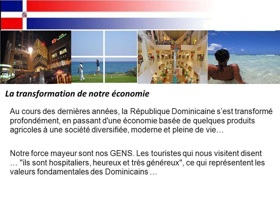 La transformation de notre économie Au cours des dernières années, la République Dominicaine sest transformé profondément, en passant d une économie basée de quelques produits agricoles à une société diversifiée, moderne et pleine de vie… Notre force mayeur sont nos GENS.