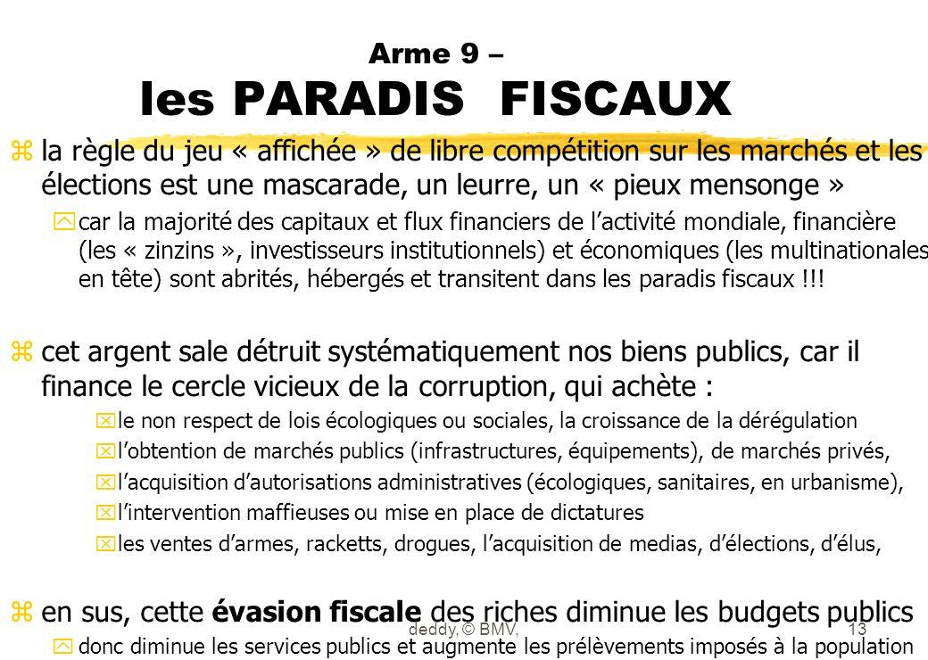 Arme 9 – les PARADIS FISCAUX zla règle du jeu « affichée » de libre compétition sur les marchés et les élections est une mascarade, un leurre, un « pi