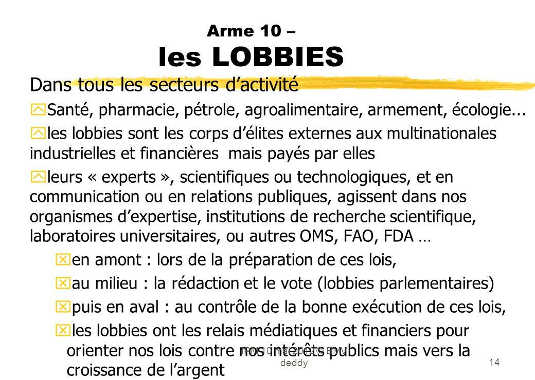 Arme 10 – les LOBBIES Dans tous les secteurs dactivité ySanté, pharmacie, pétrole, agroalimentaire, armement, écologie... yles lobbies sont les corps