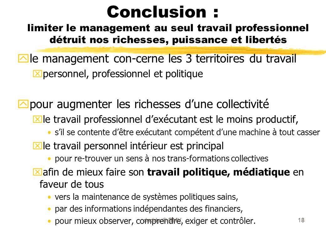 Conclusion : limiter le management au seul travail professionnel détruit nos richesses, puissance et libertés yle management con-cerne les 3 territoir