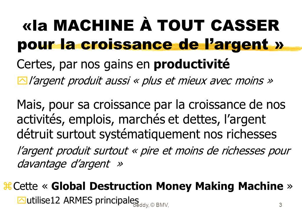 «la MACHINE À TOUT CASSER pour la croissance de largent » Certes, par nos gains en productivité ylargent produit aussi « plus et mieux avec moins » Ma