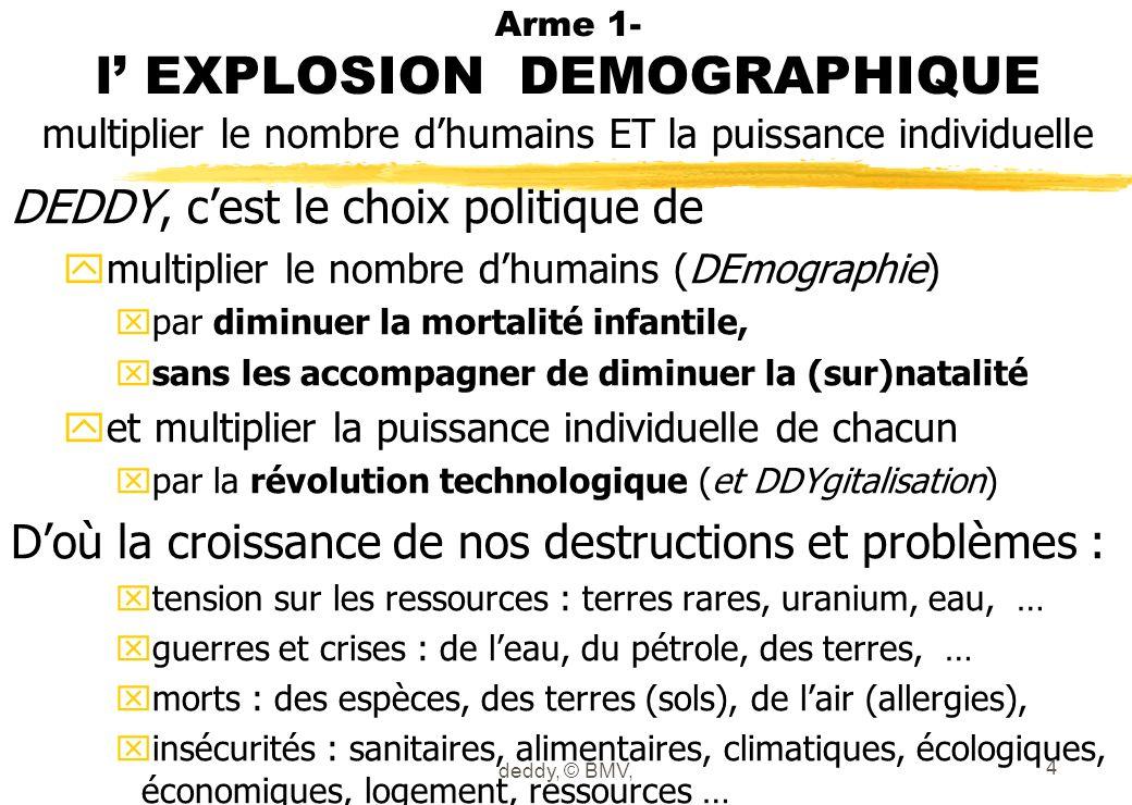 Arme 1- l EXPLOSION DEMOGRAPHIQUE multiplier le nombre dhumains ET la puissance individuelle DEDDY, cest le choix politique de ymultiplier le nombre d