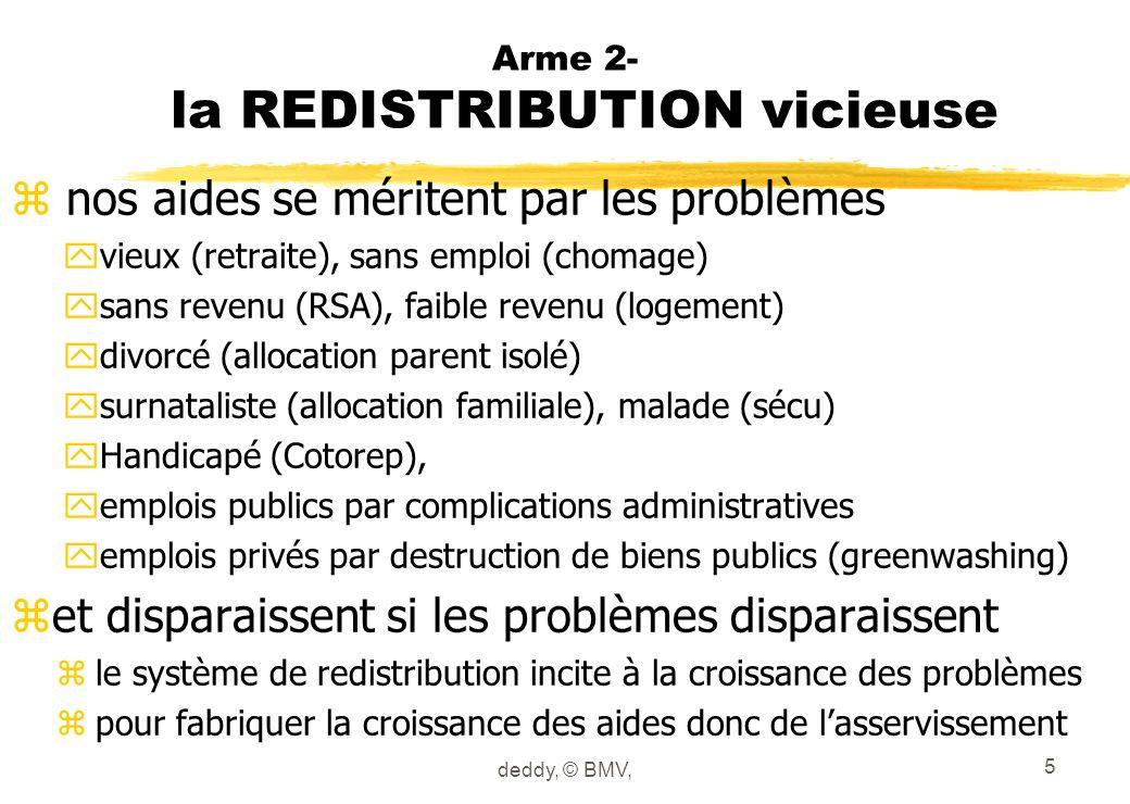 Arme 2- la REDISTRIBUTION vicieuse z nos aides se méritent par les problèmes yvieux (retraite), sans emploi (chomage) ysans revenu (RSA), faible reven