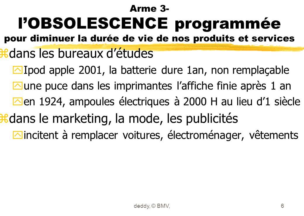 Arme 3- lOBSOLESCENCE programmée pour diminuer la durée de vie de nos produits et services zdans les bureaux détudes yIpod apple 2001, la batterie dur