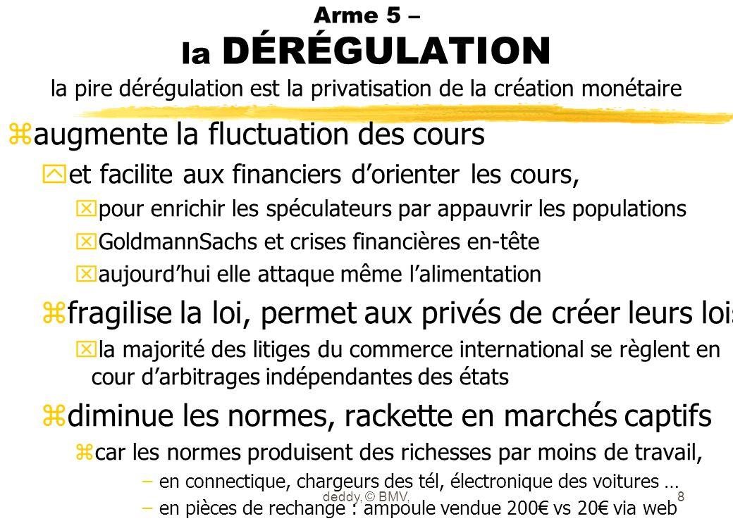 Arme 5 – la DÉRÉGULATION la pire dérégulation est la privatisation de la création monétaire zaugmente la fluctuation des cours yet facilite aux financ