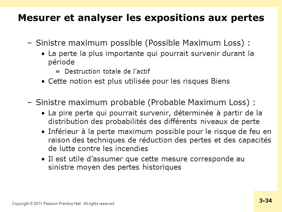 Copyright © 2011 Pearson Prentice Hall. All rights reserved. 3-34 Mesurer et analyser les expositions aux pertes –Sinistre maximum possible (Possible