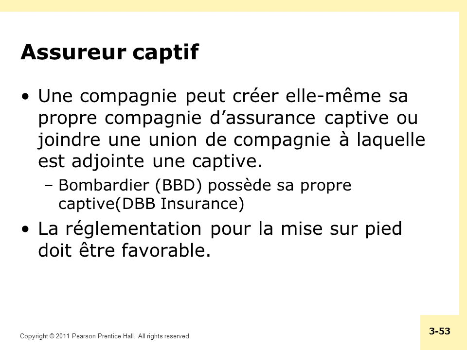 Copyright © 2011 Pearson Prentice Hall. All rights reserved. 3-53 Assureur captif Une compagnie peut créer elle-même sa propre compagnie dassurance ca