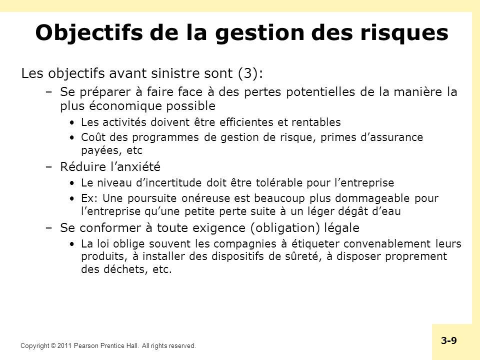 Copyright © 2011 Pearson Prentice Hall. All rights reserved. 3-9 Objectifs de la gestion des risques Les objectifs avant sinistre sont (3): –Se prépar
