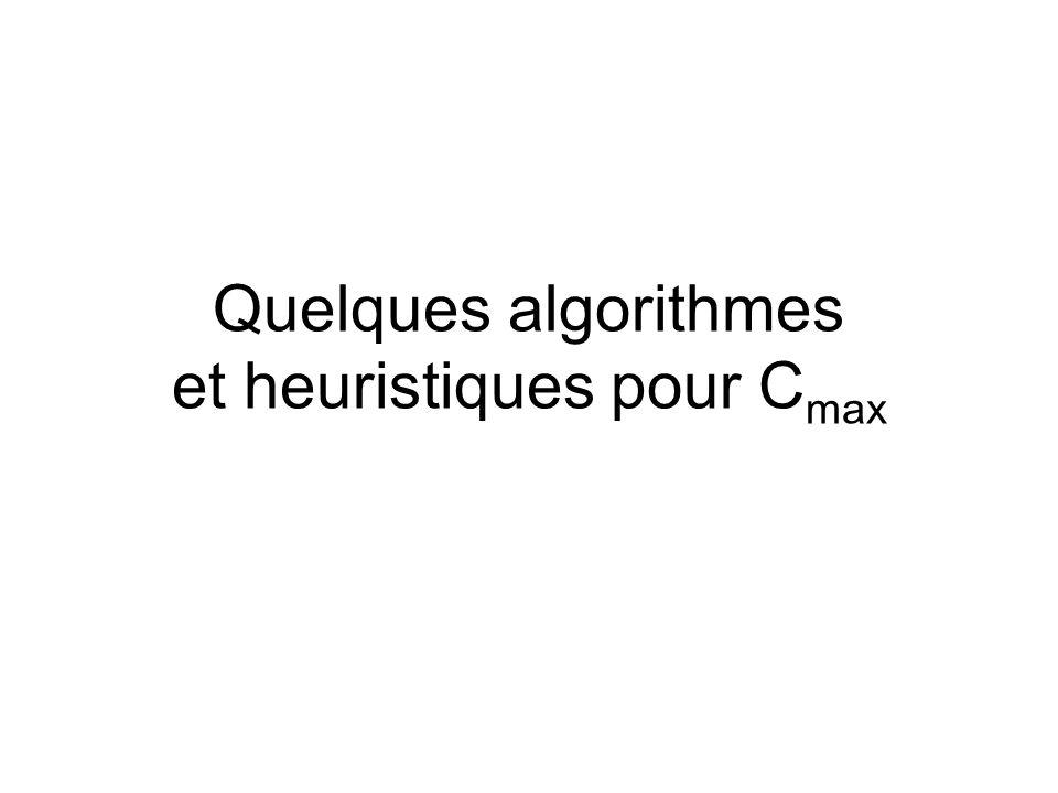Quelques algorithmes et heuristiques pour C max