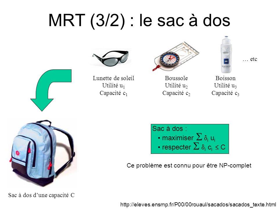 MRT (3/2) : le sac à dos Sac à dos dune capacité C Lunette de soleil Utilité u 1 Capacité c 1 Boussole Utilité u 2 Capacité c 2 Boisson Utilité u 3 Ca