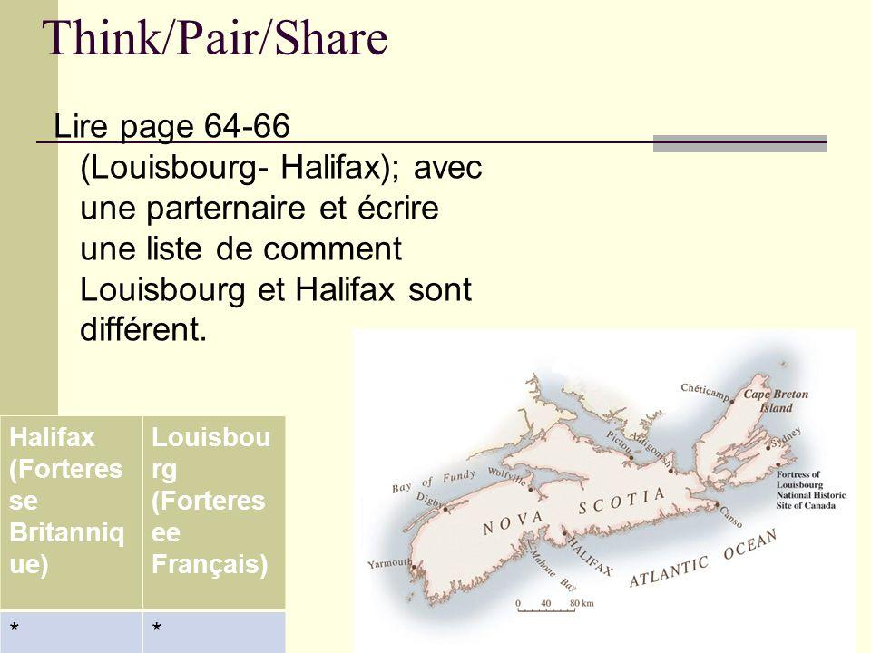 Think/Pair/Share Lire page 64-66 (Louisbourg- Halifax); avec une parternaire et écrire une liste de comment Louisbourg et Halifax sont différent. Hali