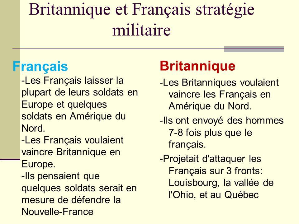 Britannique et Français stratégie militaire Britannique -Les Britanniques voulaient vaincre les Français en Amérique du Nord. -Ils ont envoyé des homm