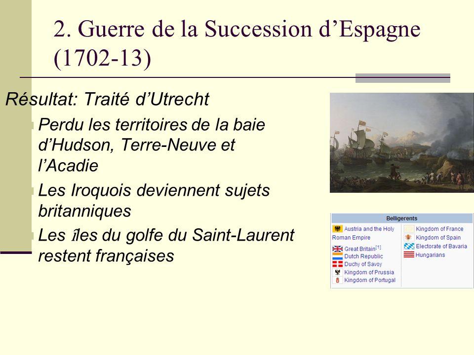 2. Guerre de la Succession dEspagne (1702-13) Résultat: Traité dUtrecht Perdu les territoires de la baie dHudson, Terre-Neuve et lAcadie Les Iroquois